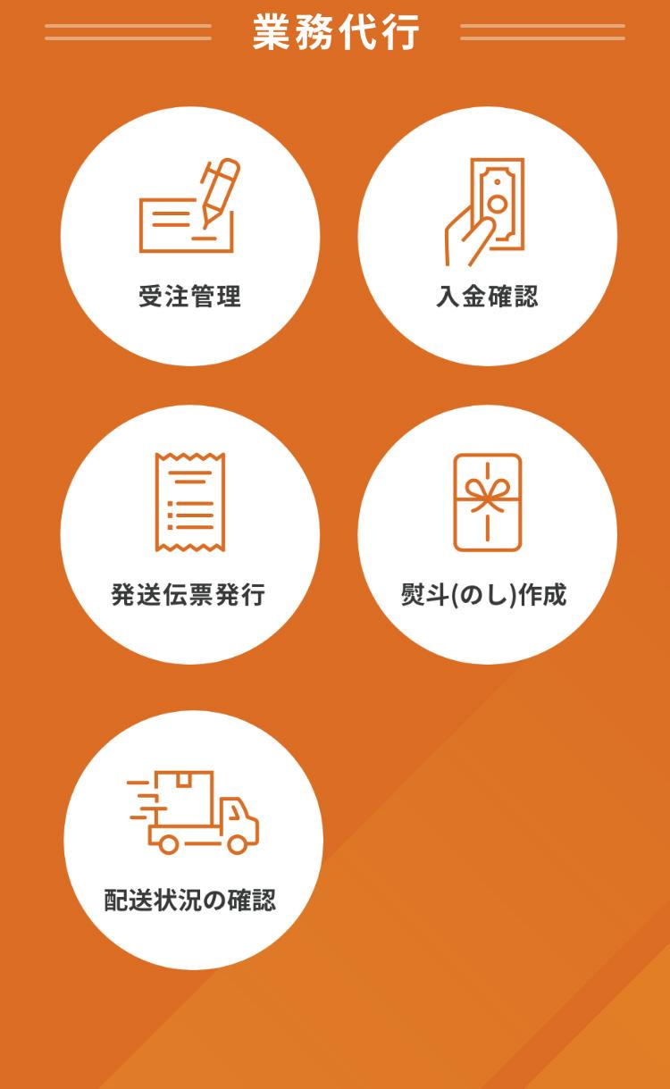 代行業務 受注管理、入金確認、発送伝票発行、熨斗(のし)作成、配送状況の確認